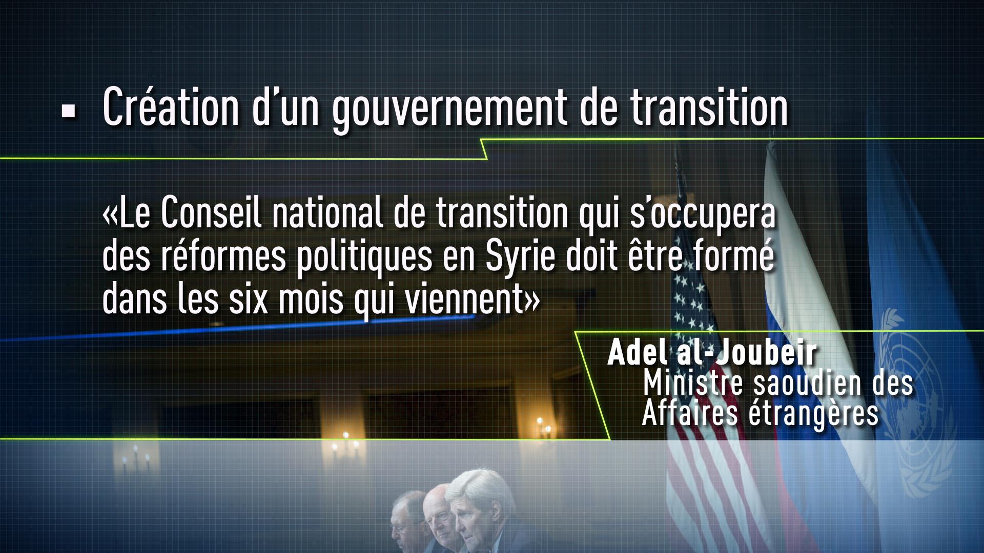 Création d'un gouvernement de transition