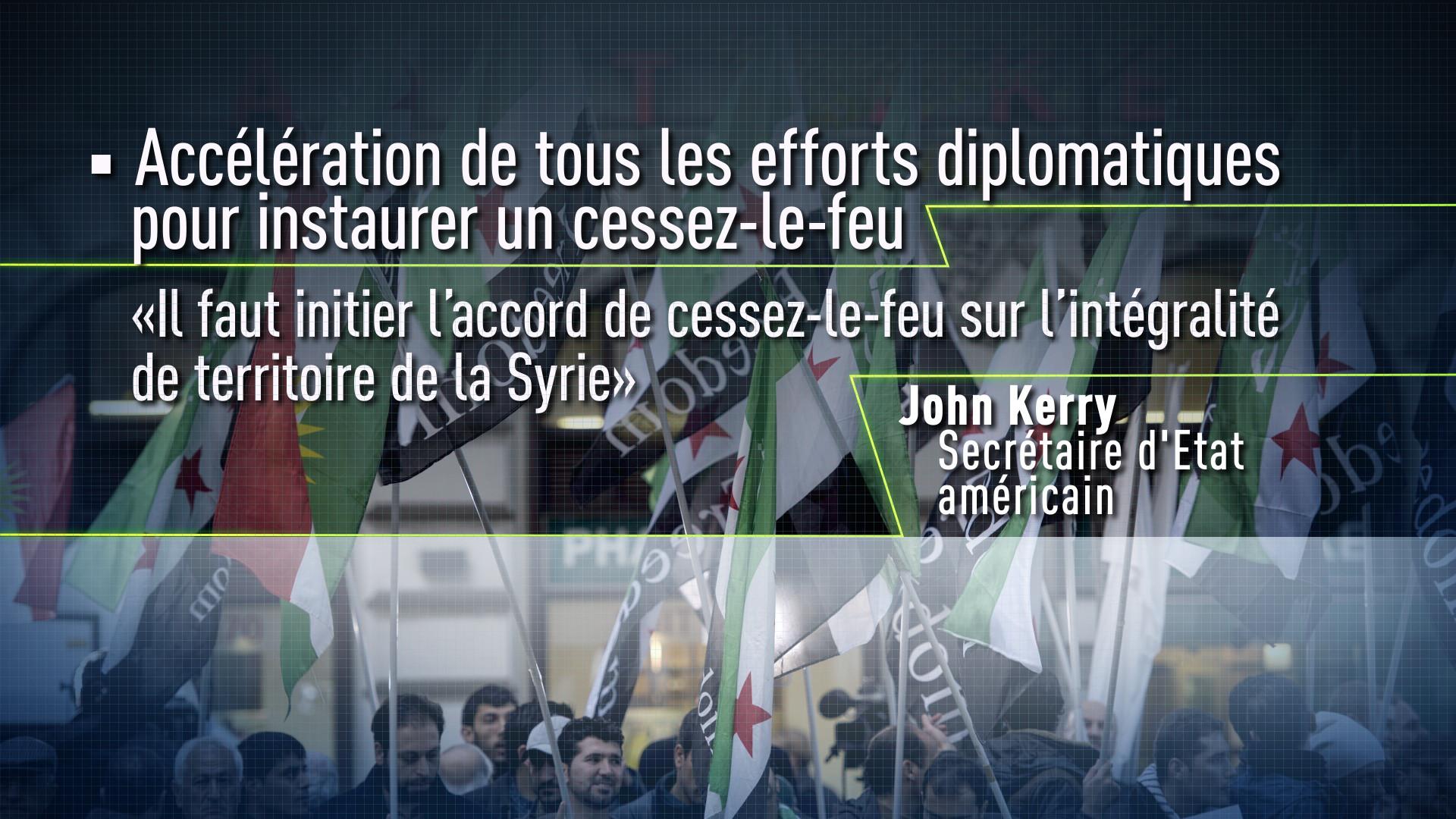 Accélération de tous les efforts diplomatiques pour instaurer un cessez-le-feu