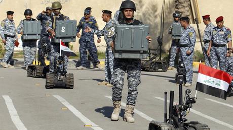 Des robots militaires pendant un entraînement de la police fédérale irakienne.