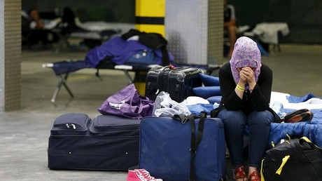 Une femme syrienne dans un centre d'hébergement près de Francfort.