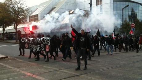 La manifestation dans les rues de Brest.