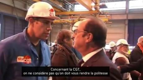 Un syndicaliste CGT refuse de serrer la main du Président de la République à Saint Nazaire