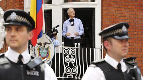 Julian Assange à l'ambassade de l'Equateur à Londres.