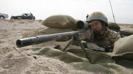 Un soldat britannique pendant le guerre d'Irak