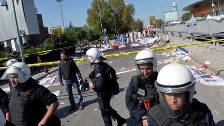 Le lieu des explosions à Ankara, le 10 octobre 2015