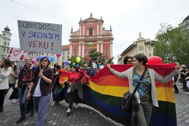 L'autorisation du mariage homosexuel avait été fêtée à Ljubljana. La loi pourrait malgré tout être annulée.