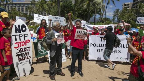 Une protestation contre TPP sur l'île de Maui de l'archipel d'Hawaï