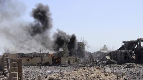 Un bâtiment atteint par une frappe dans la ville de Sadah au Yémen (photo d'archive)