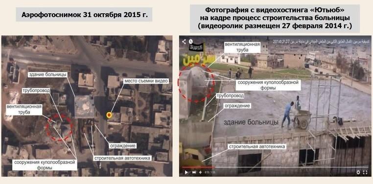 A droite, une photo du satellite russe; à gauche, des images de la construction de l'hôpital à Sarmine