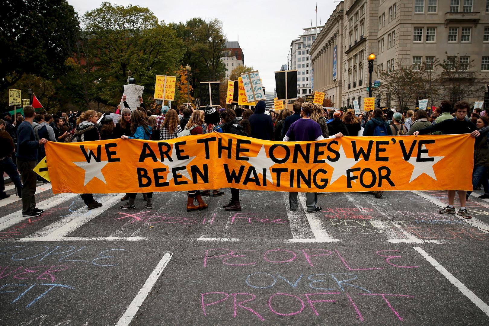 Des étudiants américains dans une manifestation «notre génération, notre choix» à Washington