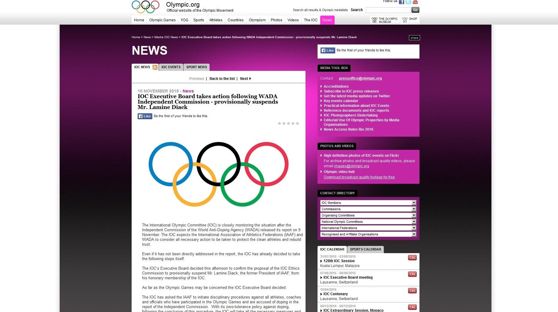 Capture d'écran du site www.olympic.org
