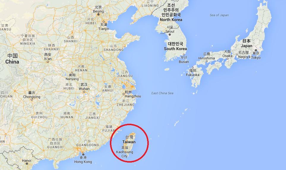 Carte de la position de Taïwan.