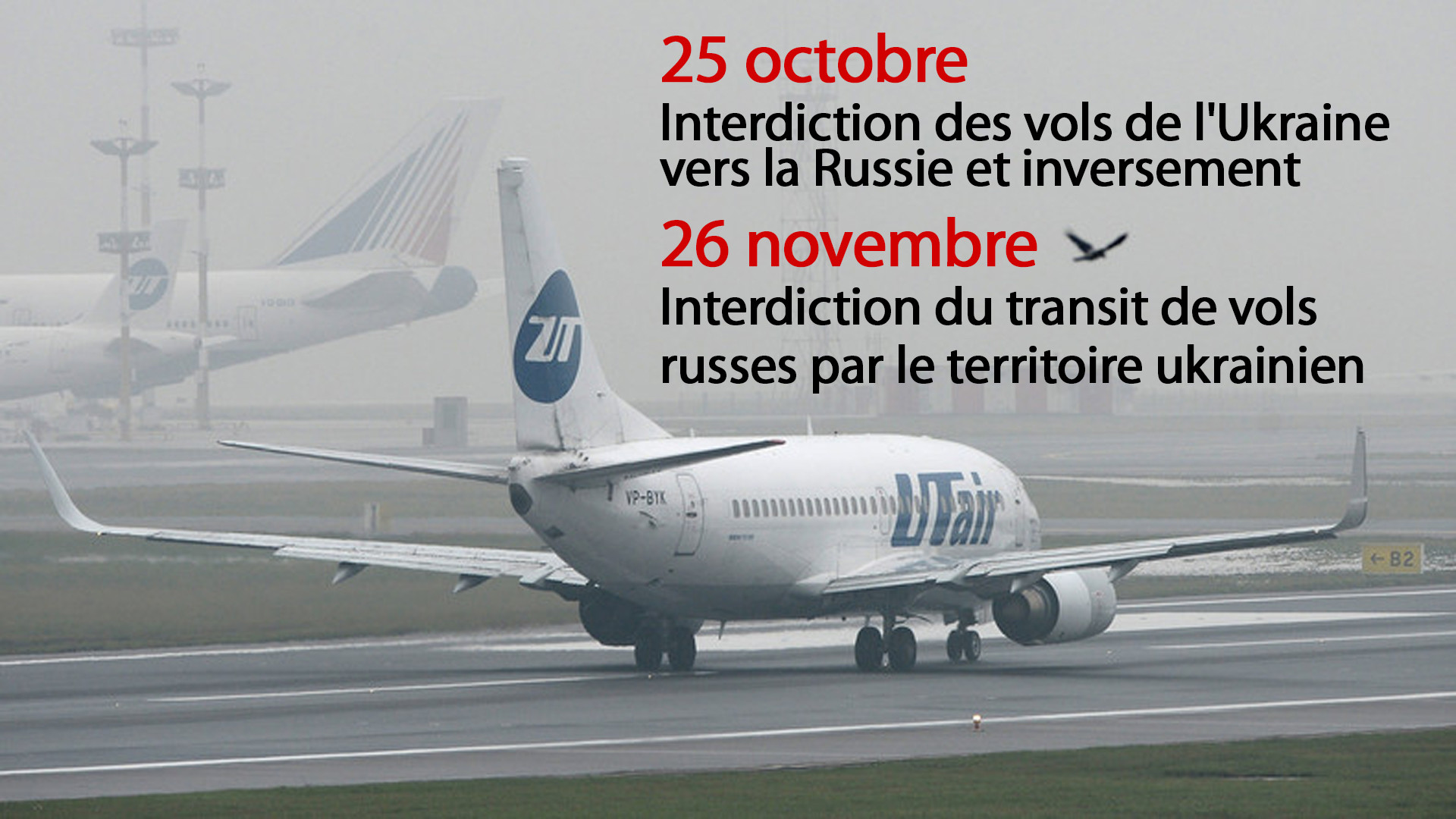 Interdiction du transit de vols russes par le territoire ukrainien : conséquences en images