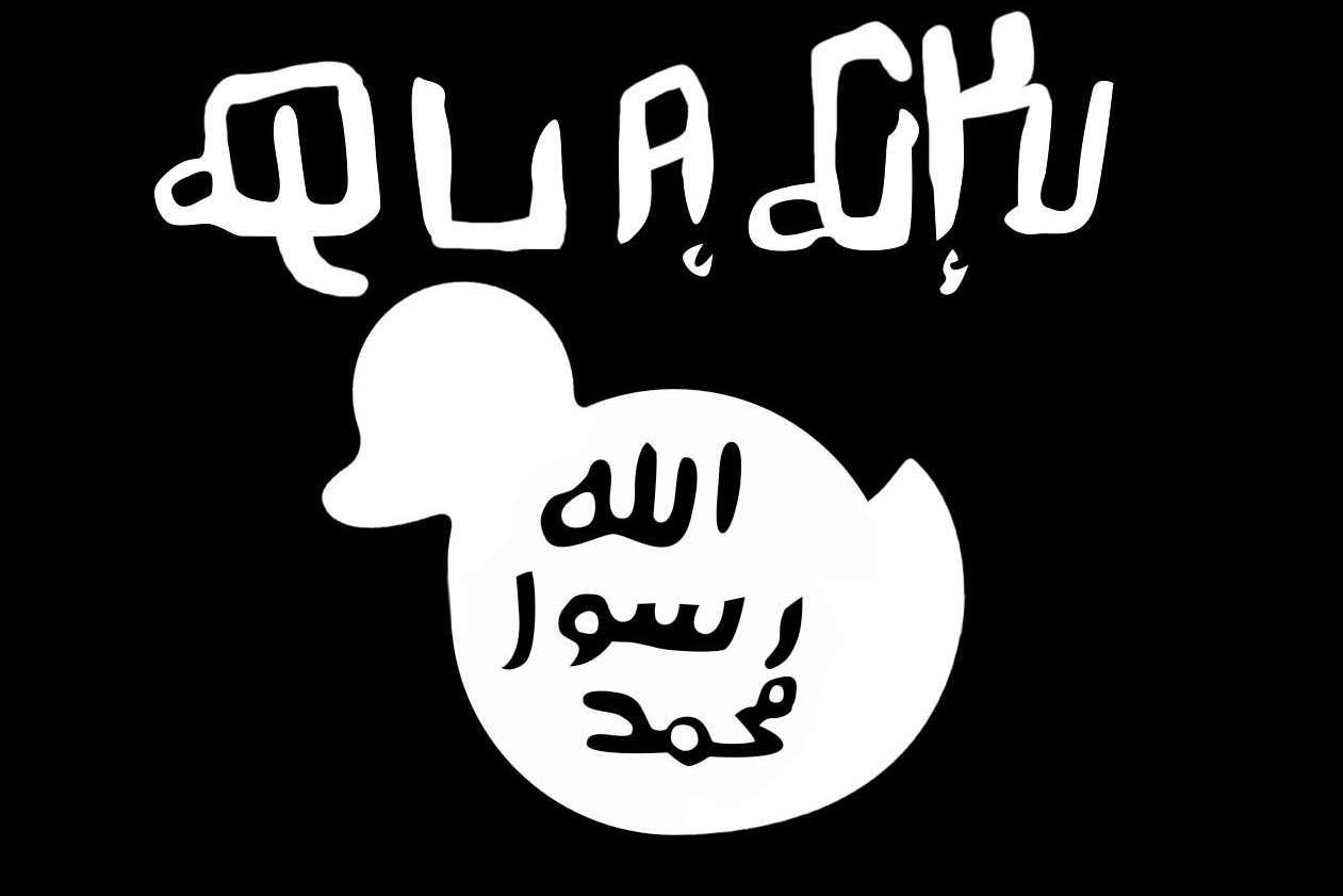Le désormais tristement célèbre drapeau de l'EI y passe, bien évidemment.