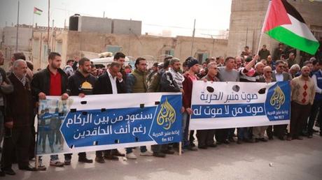 Manifestation de soutien à la radio ce matin à Hébron