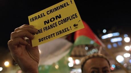 Un manifestant parisien appelant au boycott d'Israël en 2012