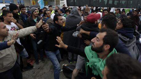 Des migrants se disputent pour entrer dans les bus à destination de l'Allemagne en Autriche