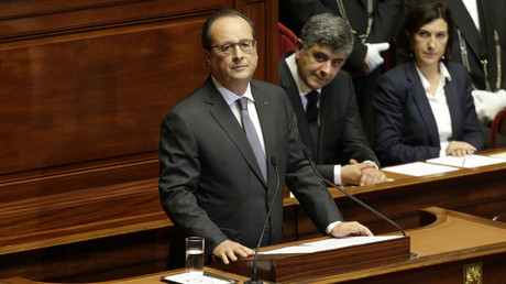 François Hollande pendant son discours au Palais de Versailles