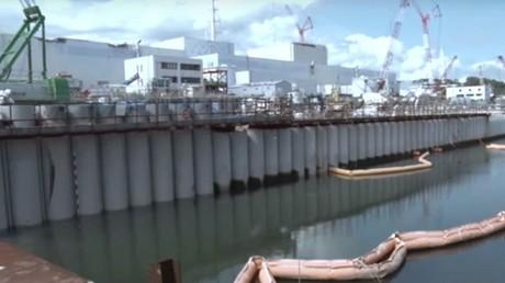 Le mur de protection de la centrale de Fukushima.