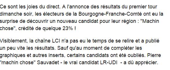 LCI rebaptise un candidat aux régionales «M. Machin-Chose»