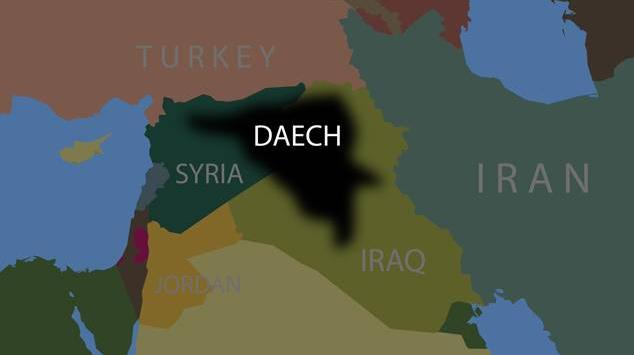 Carte des zones contrôlées par Daesh en décembre 2015.