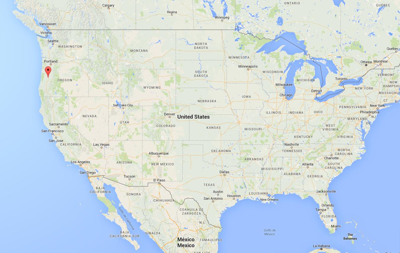 La ville d'Eugene, située dans l'Etat américain de l'Oregon (Source: Google Map)