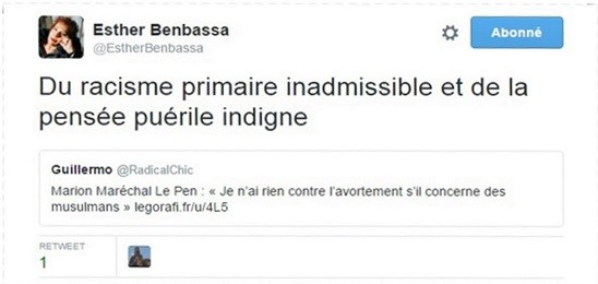 Le tweet d'Esther Benbassa risque de faire parler de lui
