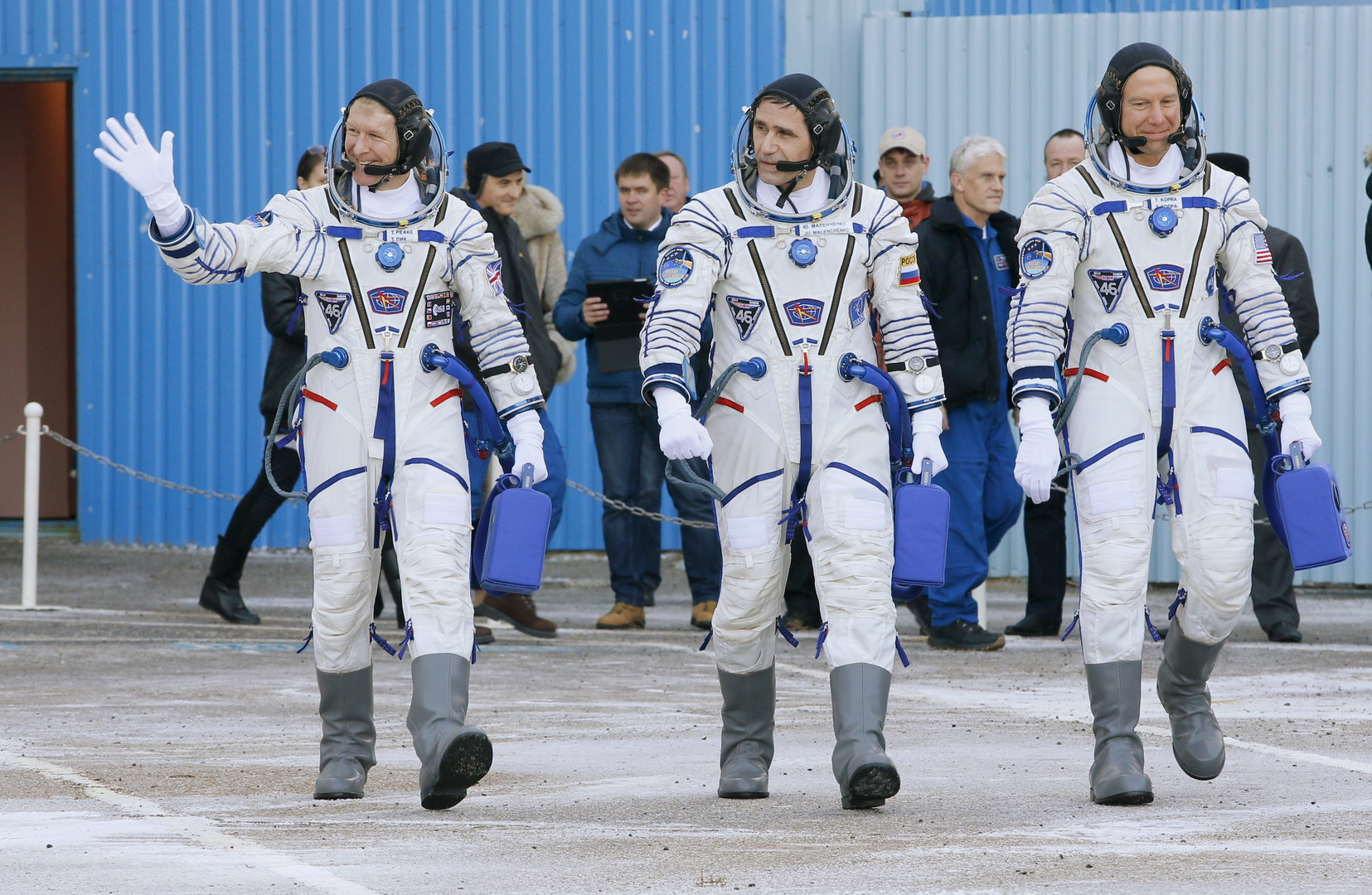 Tim Peake, Youri Malenchenko et Tim Kopra