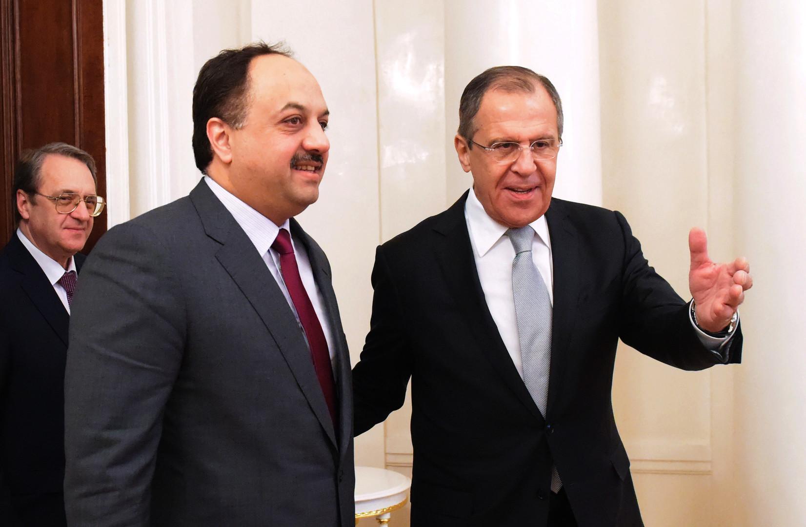 Khaled al-Attiyah et Sergueï Lavrov