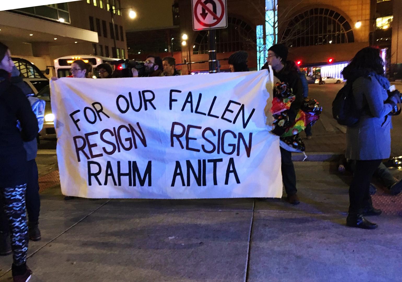 Les manifestants à Chicago