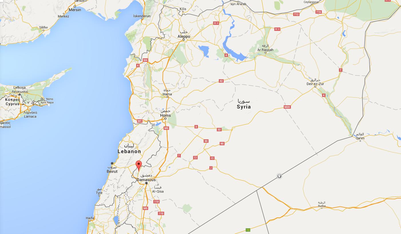 Zabadani, dernier bastion rebelle à la frontière entre la Syrie et le Liban (Source : Google Map)