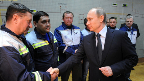 Vladimir Poutine lors de la cérémonie de l'ouverture du «pont d'énergie» en Crimée