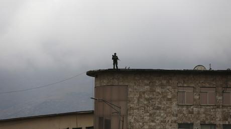 Un bâtiment sous haute surveillance à Kaboul.