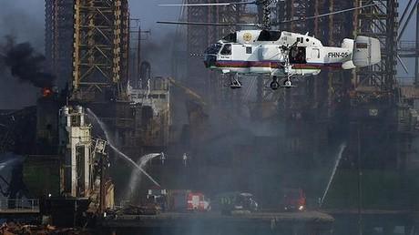 Au 3ème jour de l'incendie d'une plateforme de la Caspienne, on compte 7 morts et 23 disparus