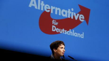 Logo du parti Alternative pour l'Allemagne lors d'un meeting