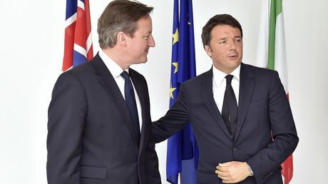 David Cameron, premier ministre britannique et son homologue italien, Matteo Renzi.
