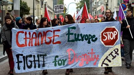 Protestation contre le TTIP à Bruxelles