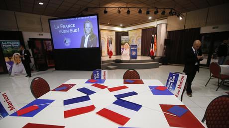 Le lieu du rassemblement du Front National avant l'annonce des résultats du deuxième tour des régionales