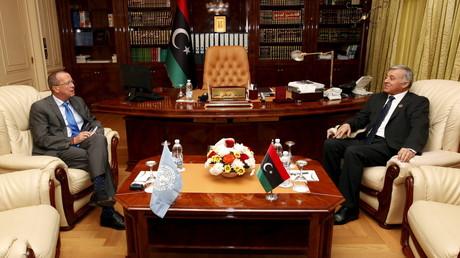 Nouri Abusahmain, le chef du Conseil national de Libye avec Martin Kobler, le représentant des Nations Unies pour le pays.