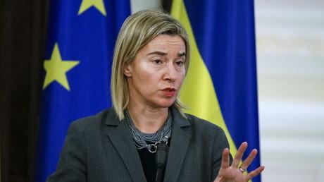 La chef de la diplomatie de l'Union européenne, Frederica Mogherini lors d'une visite à Kiev, en Ukraine, en novembre 2015