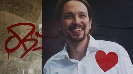 Une affiche du parti Podemos avec son leader Pablo Iglesias