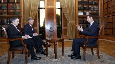 Bachar el-Assad lors d'une interview avec des journalistes américains en septembre 2013.