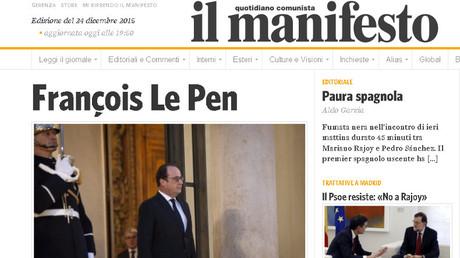 La Une du journal italien.