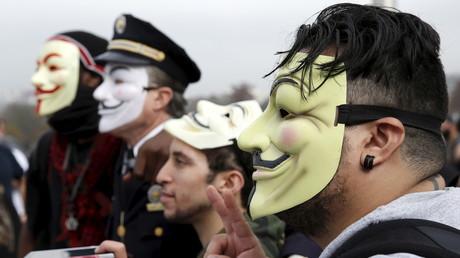 Des membres d'Anonymous à Philadelphie aux Etats-Unis