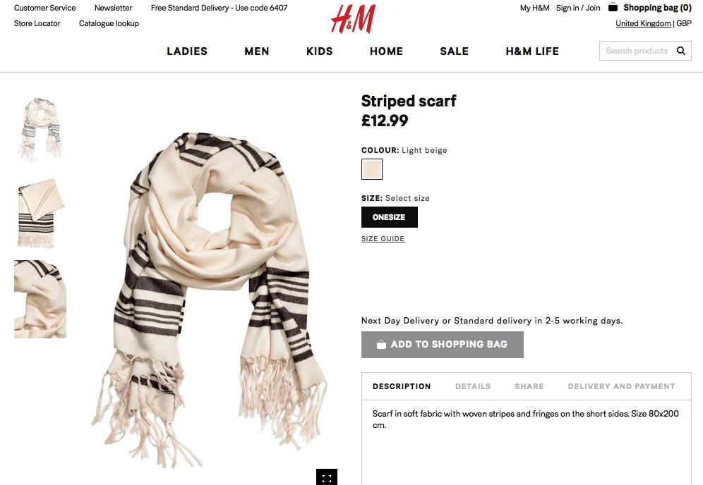 Capture d'écran du site H&M