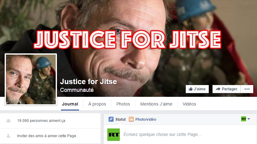 Capture d'écran de la page Facebook Justice for Jitse