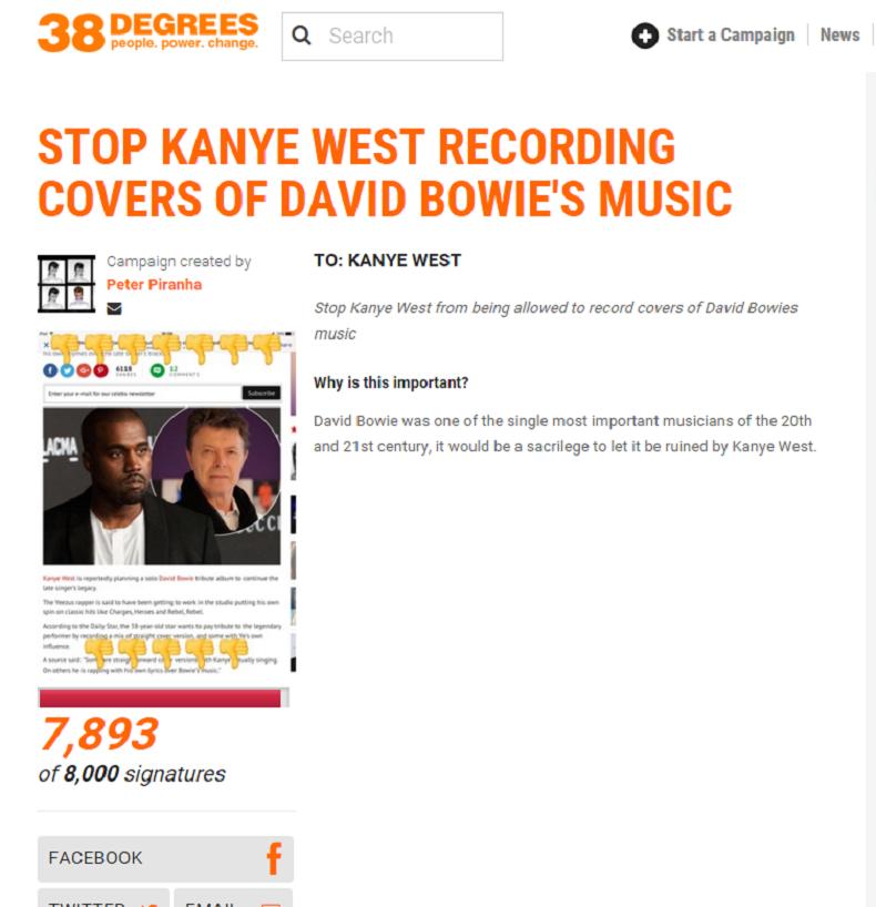 David Bowie : une pétition pour dissuader Kanye West de faire un album hommage
