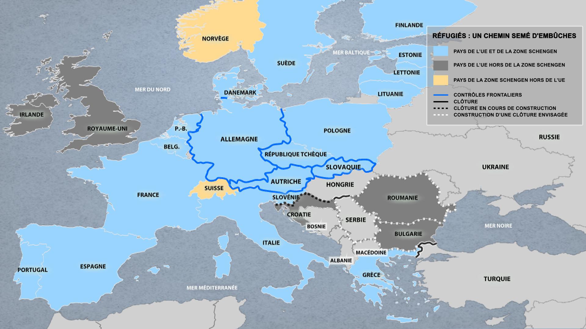 Une carte montre comment l'Europe devient une forteresse anti-réfugiés
