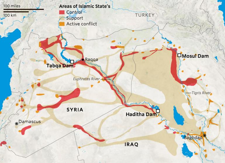 Les zones sous contrôle de l'Etat Islamique