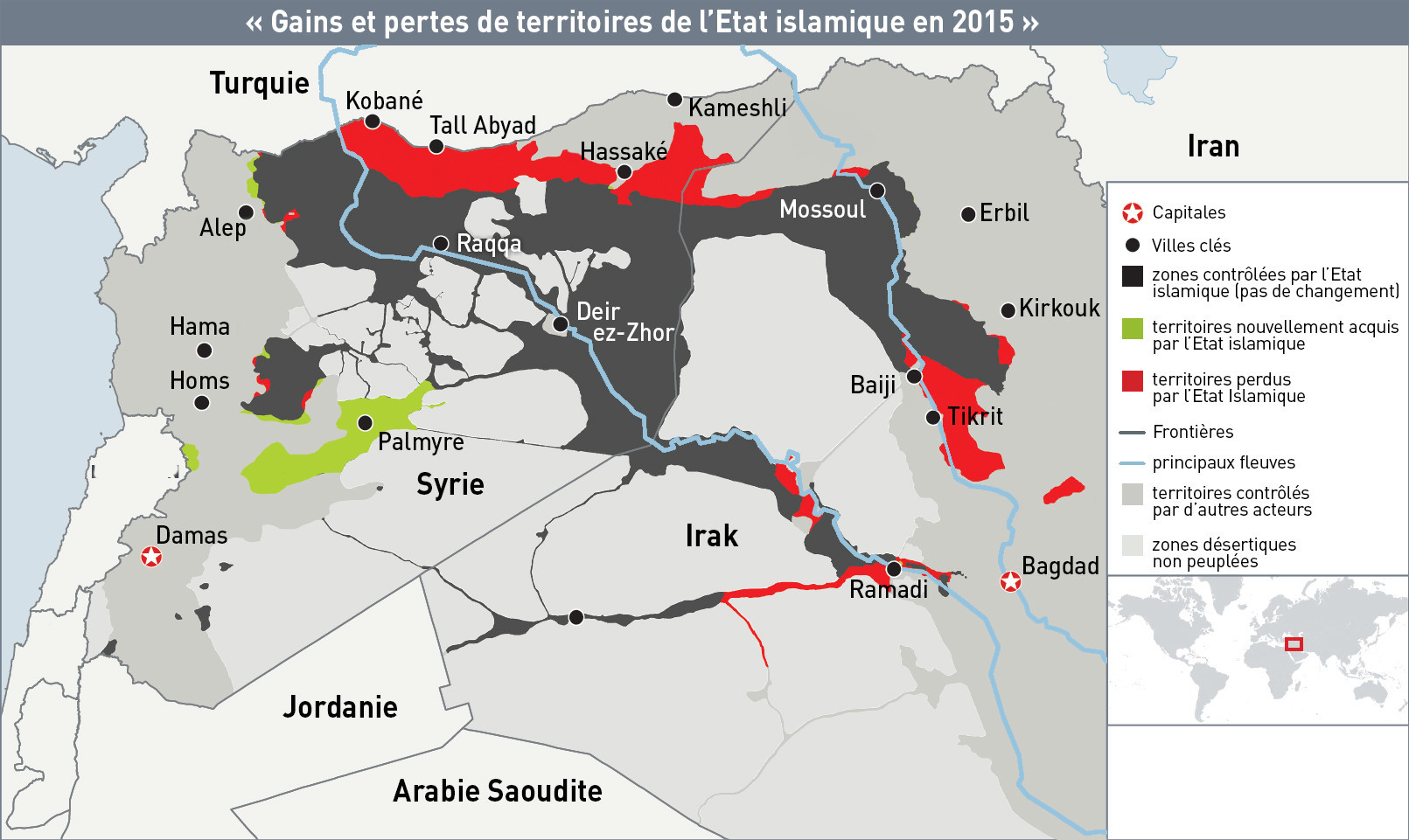 Gains et pertes de territoires de l'Etat Islamique en 2015
